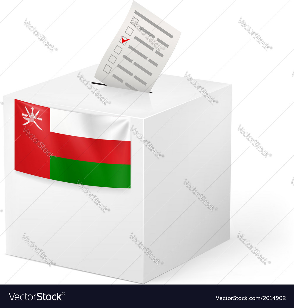 Ballot box with voting paper oman vector | Price: 1 Credit (USD $1)