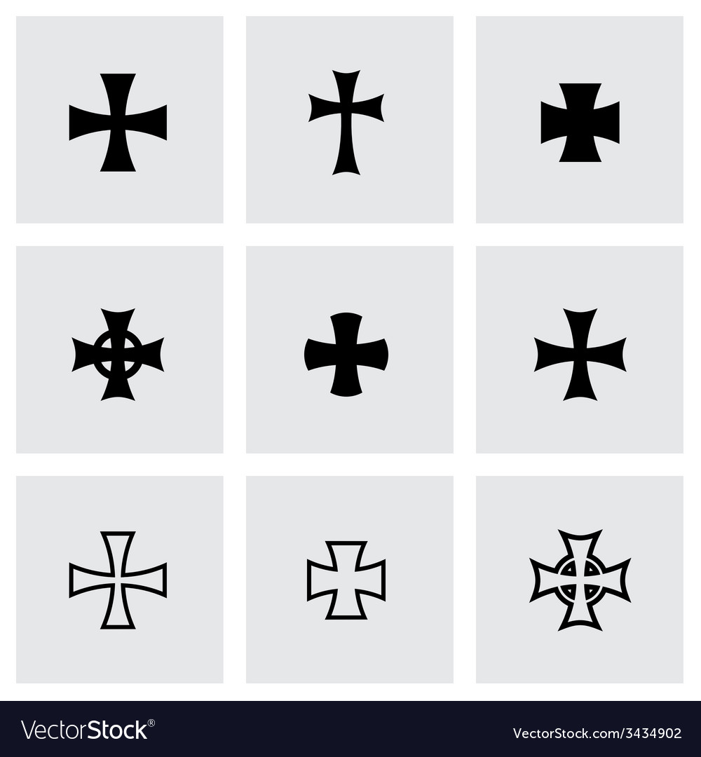 Black choppers crosses icon set vector | Price: 1 Credit (USD $1)