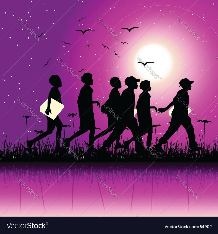 Children at night vector | Price: 1 Credit (USD $1)