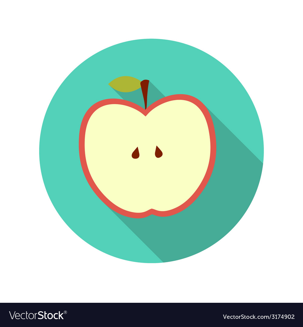 Flat design concept apple with long shadow vector | Price: 1 Credit (USD $1)