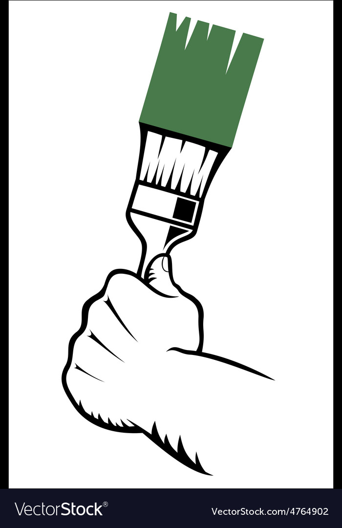 Hand with paint brush vector | Price: 1 Credit (USD $1)