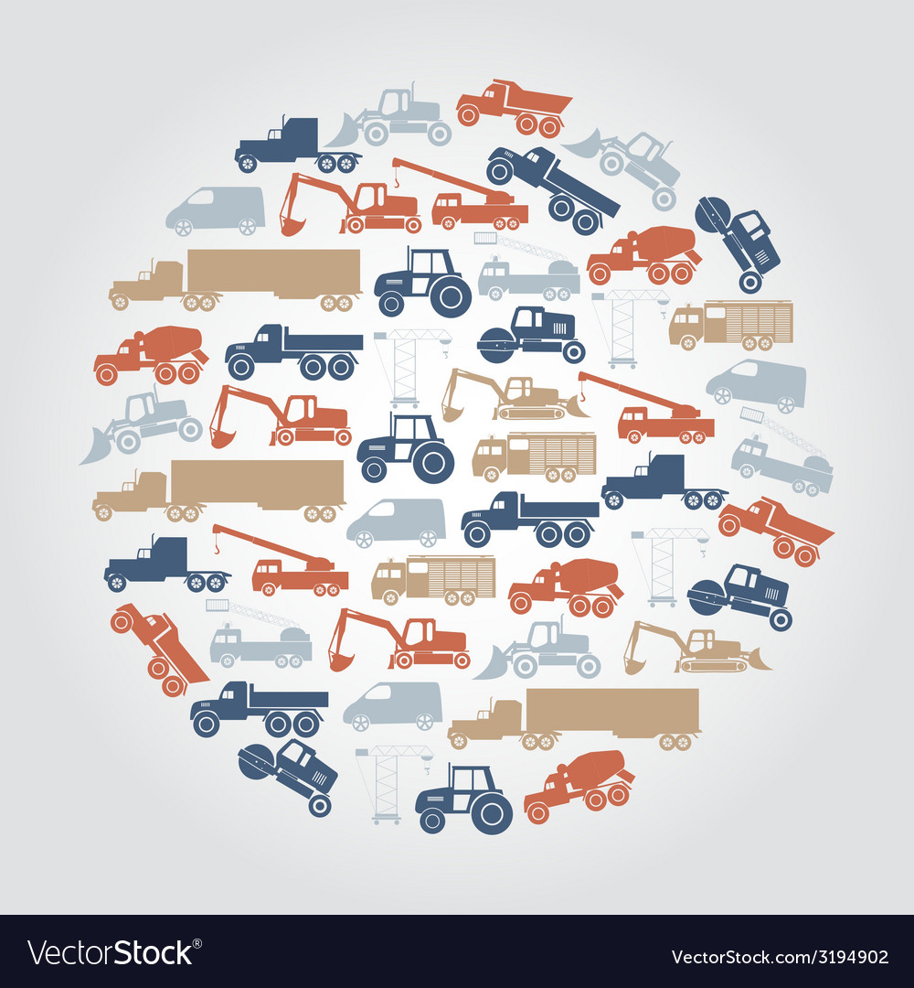 Heavy machinery various color icons in circle vector | Price: 1 Credit (USD $1)