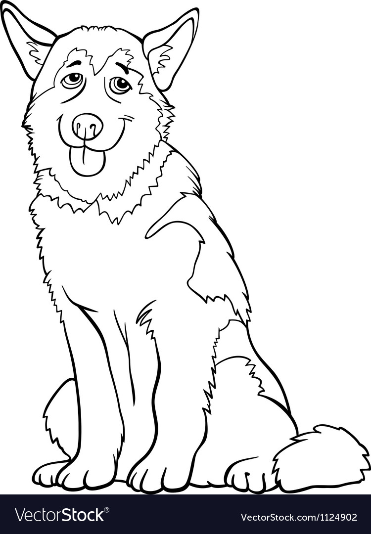Husky or malamute dog cartoon for coloring vector | Price: 1 Credit (USD $1)