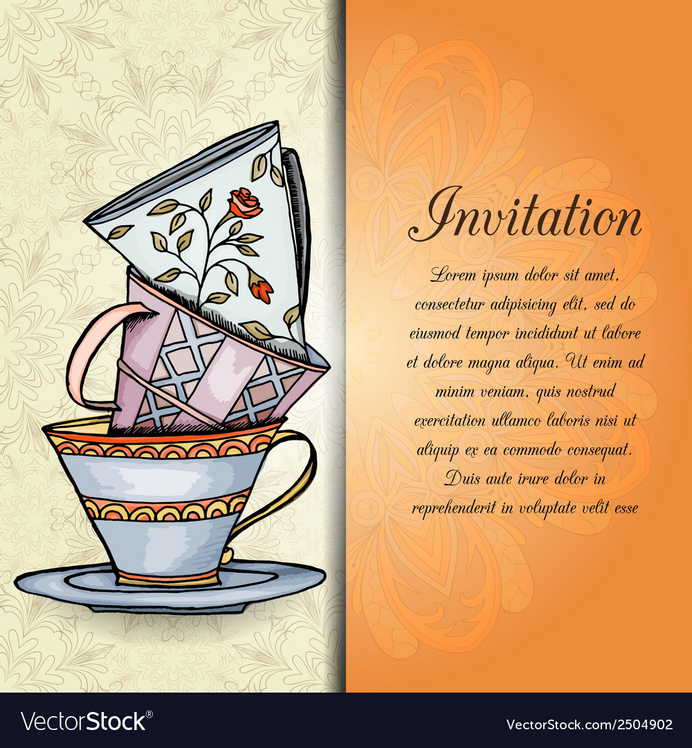 Invitation retro hand drawn design card vector | Price: 1 Credit (USD $1)