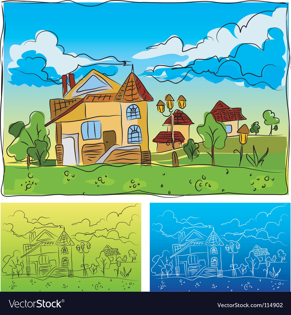 Landscape drawing vector | Price: 3 Credit (USD $3)