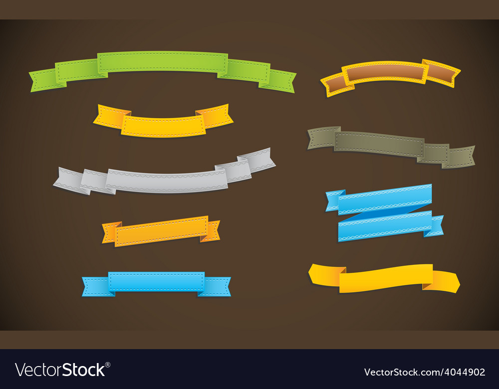 Ribbons of various shapes and colors vector | Price: 1 Credit (USD $1)