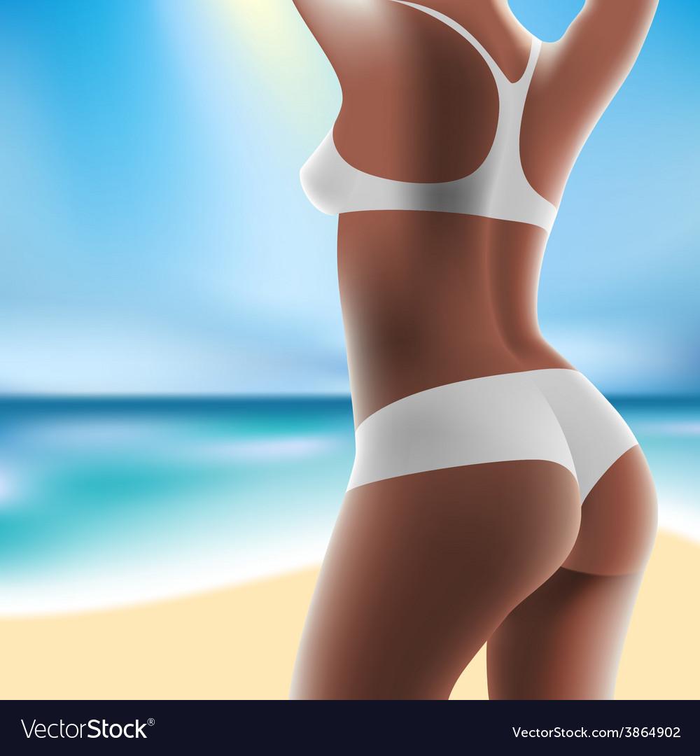 Woman at sea in bikini vector | Price: 3 Credit (USD $3)