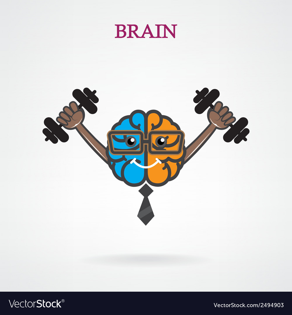 Creative brain sign with the dumb bell vector | Price: 1 Credit (USD $1)