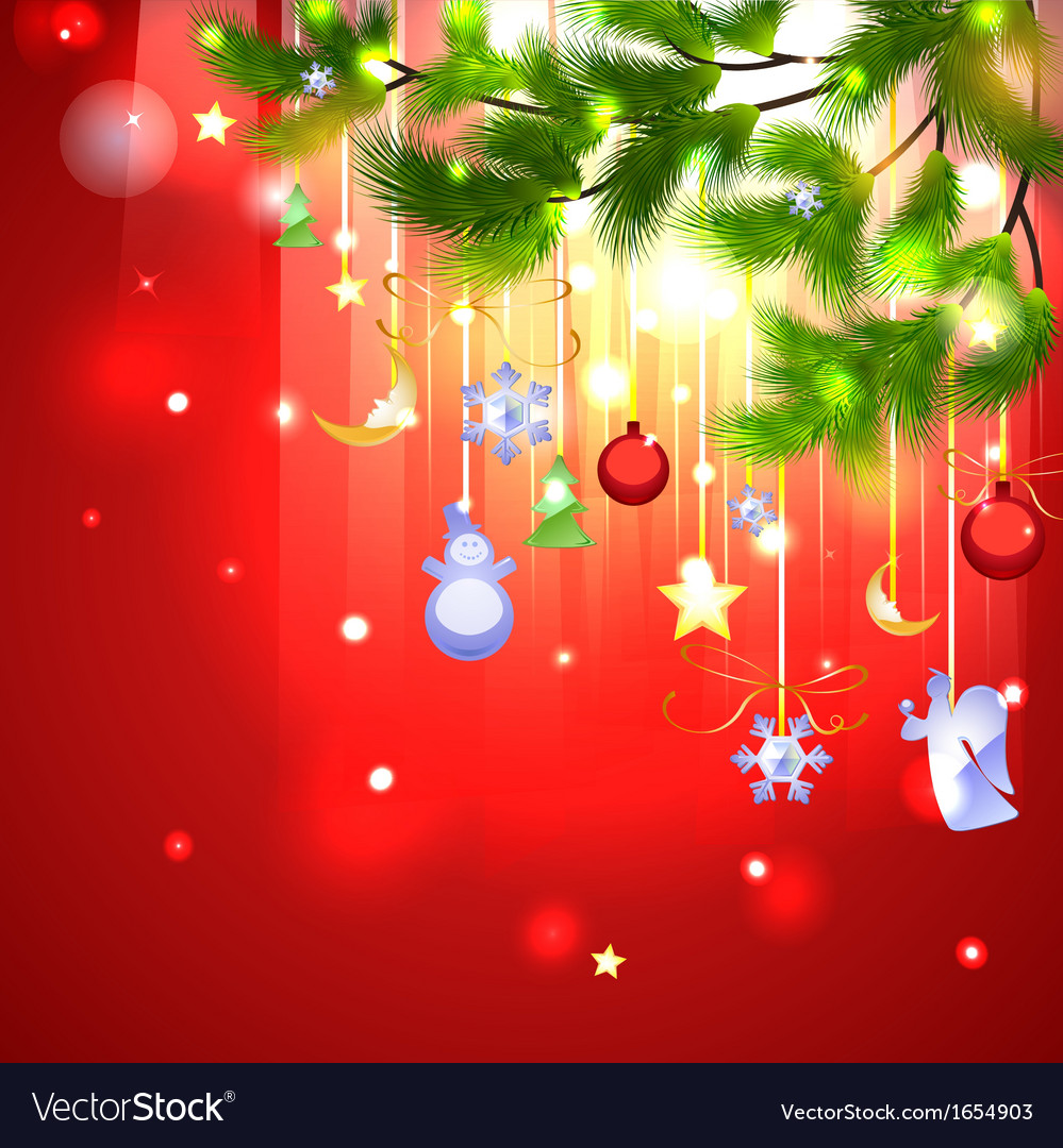 Fir branch with christmas shiny decoration vector | Price: 1 Credit (USD $1)