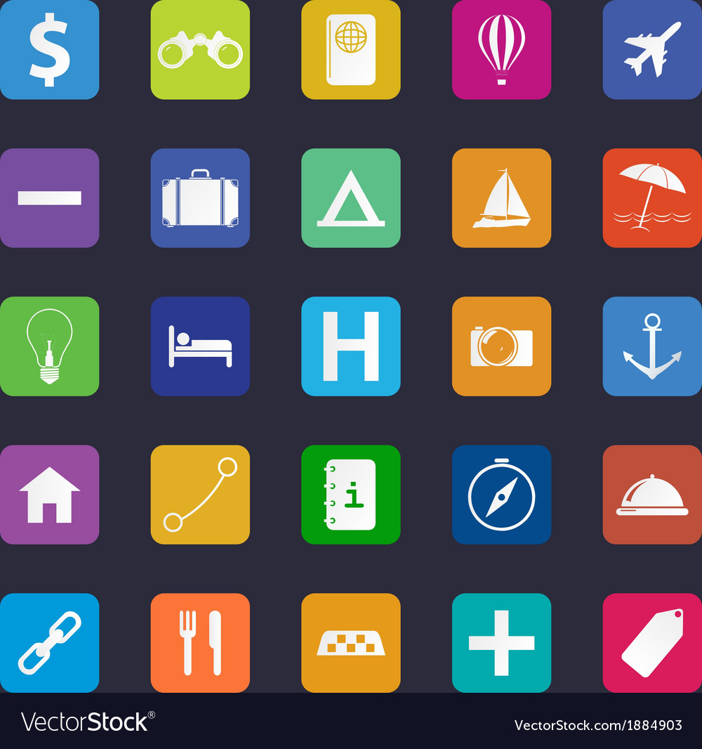 Flat travel icon set vector | Price: 1 Credit (USD $1)