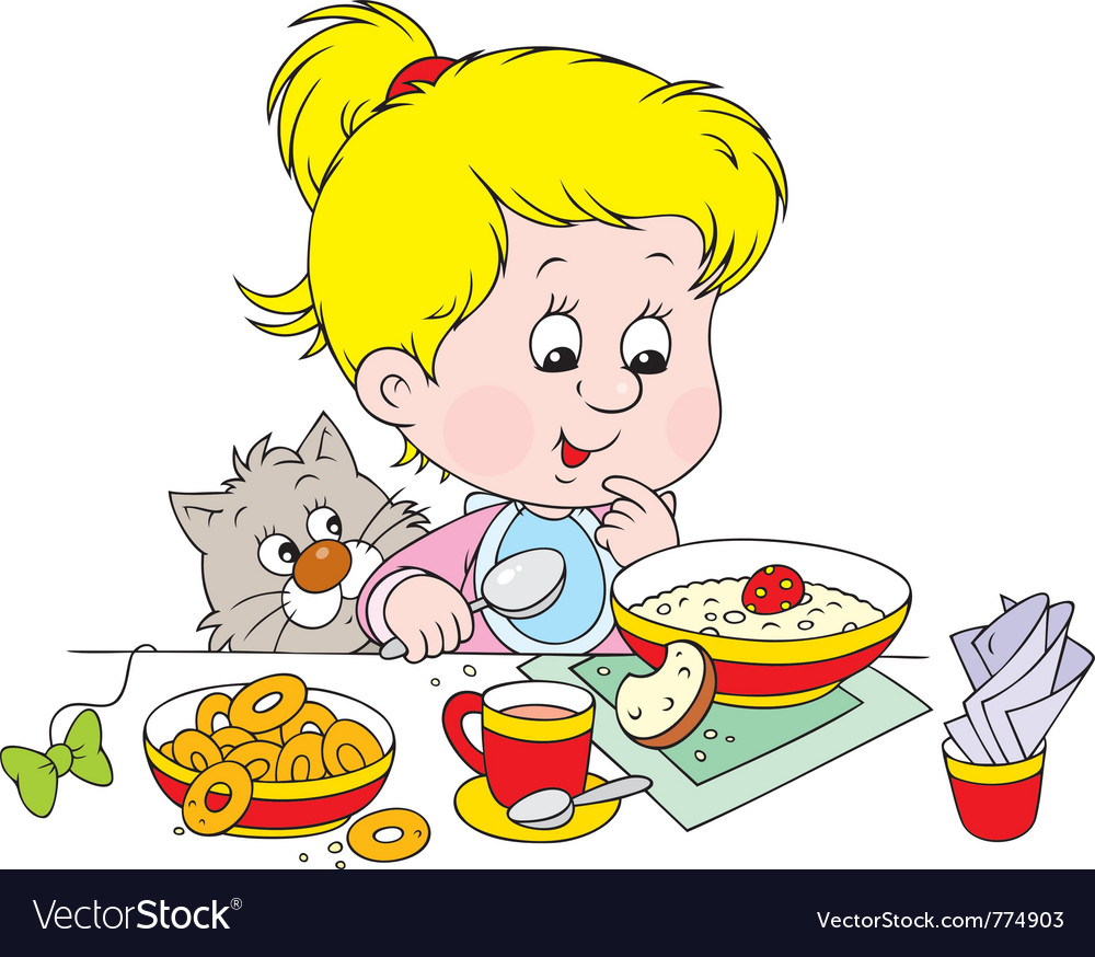 Girl at breakfast vector | Price: 3 Credit (USD $3)