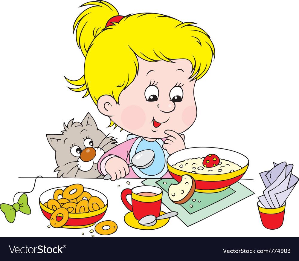 Girl at breakfast vector | Price: 3 Credit (USD $3)