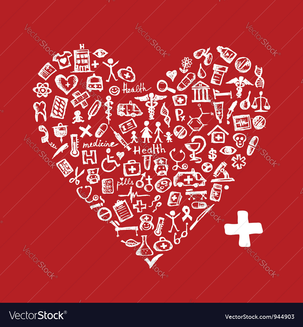 Heart shape with medical icons for your design vector | Price: 1 Credit (USD $1)