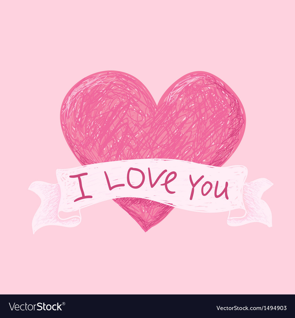 Hearts i love you pink vector | Price: 1 Credit (USD $1)