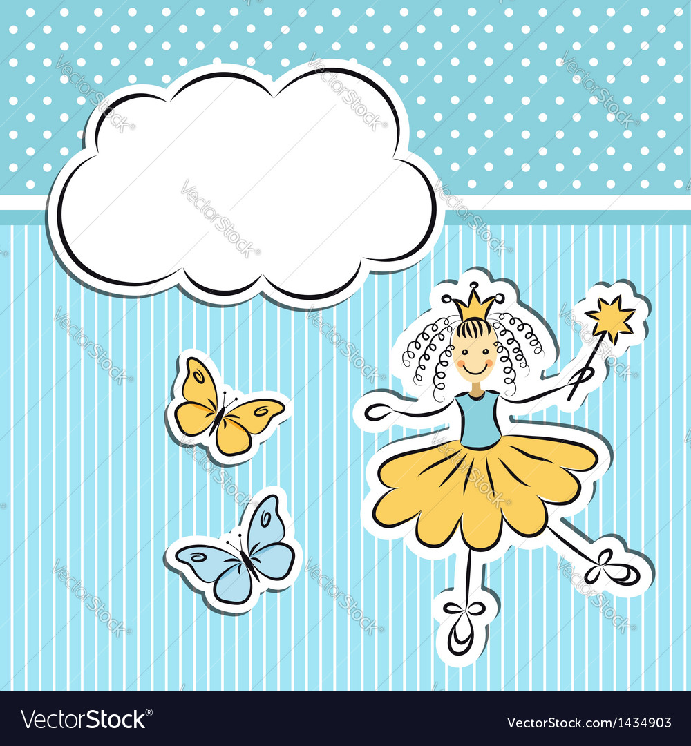 Little princess with paper cloud and butterflies vector | Price:  Credit (USD $)