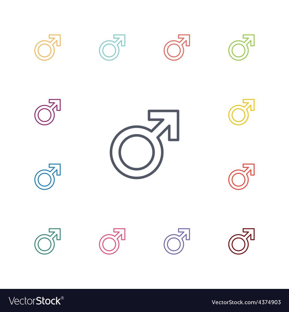 Male symbol flat icons set vector | Price: 1 Credit (USD $1)