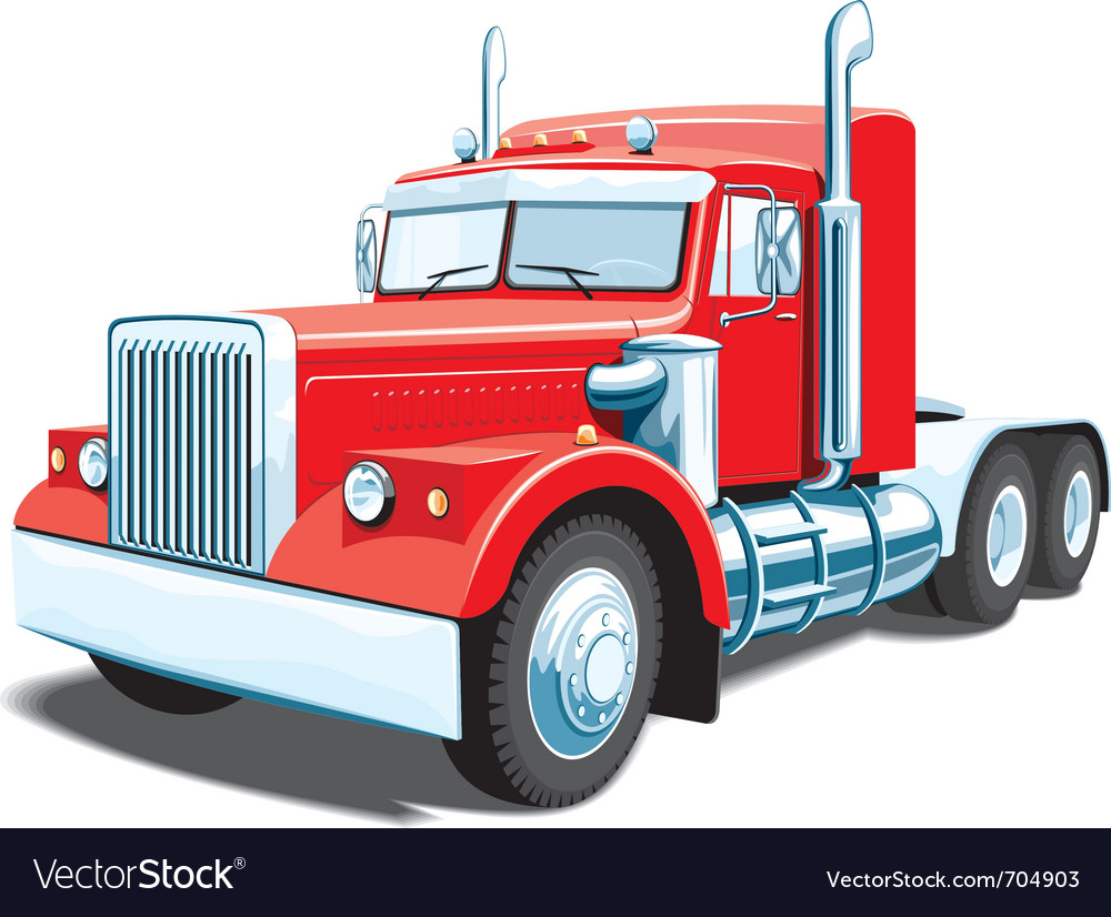 Red semi truck vector | Price: 5 Credit (USD $5)