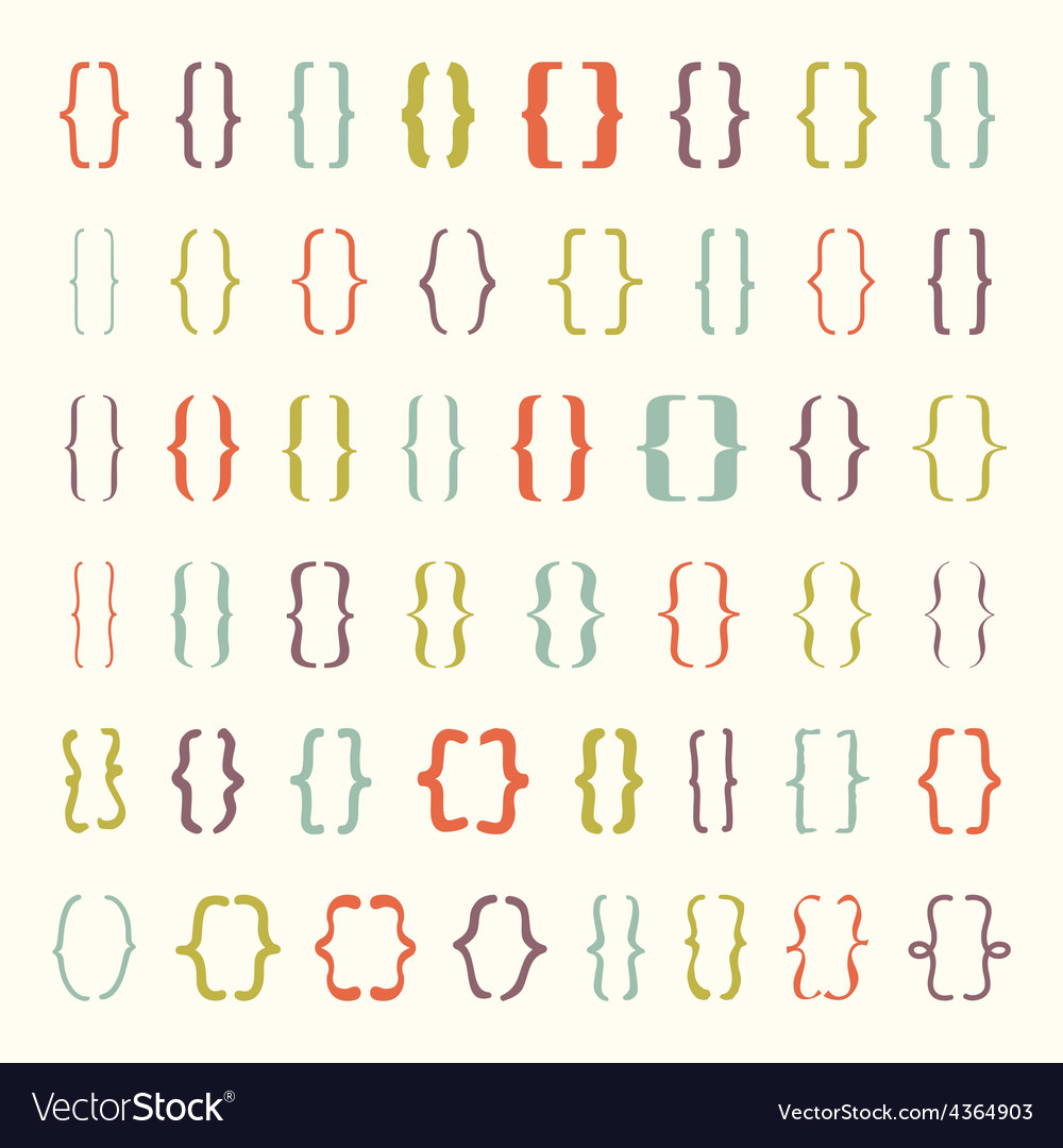 Set of braces or curly brackets icon vector | Price: 1 Credit (USD $1)