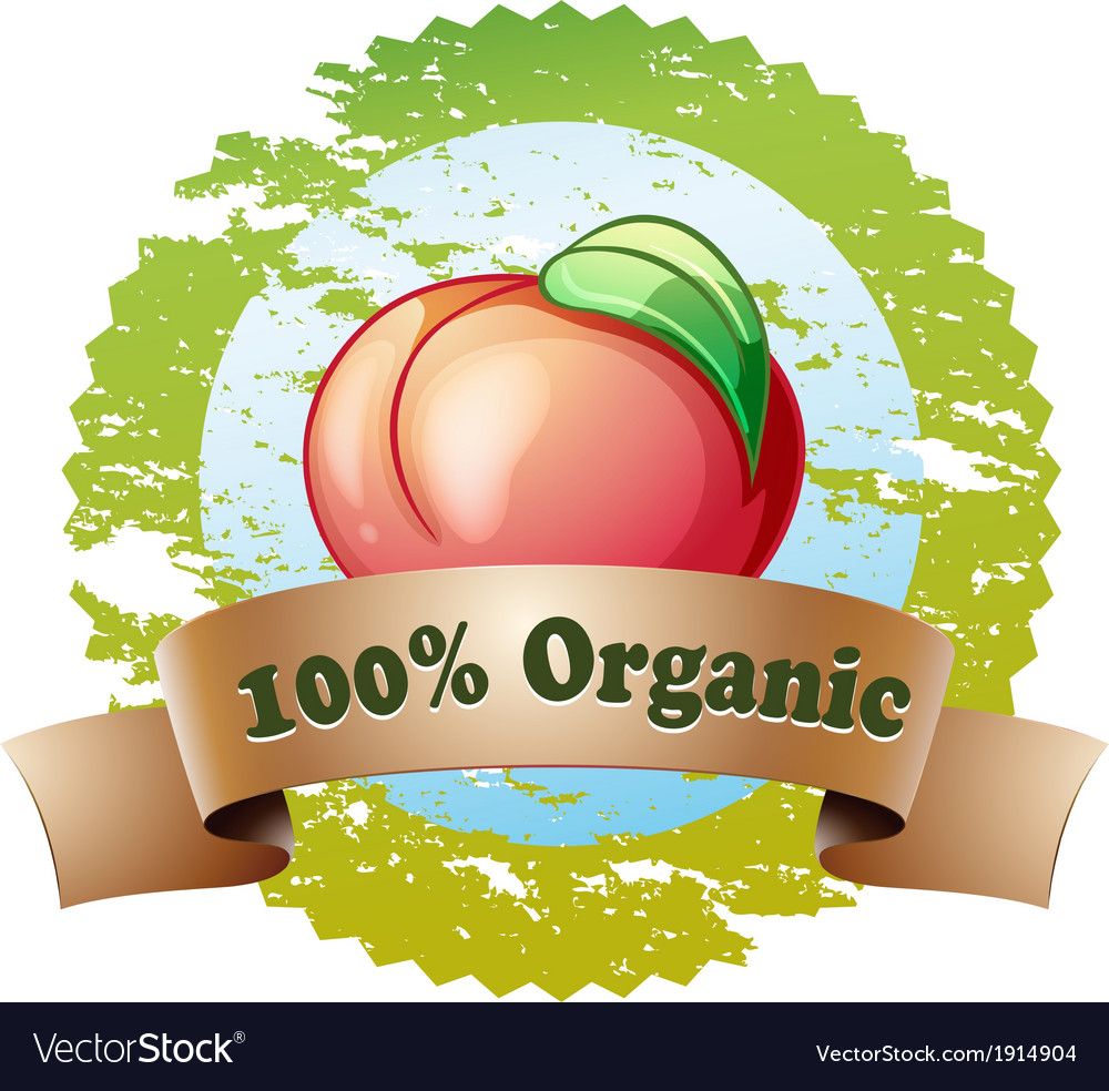 A pure organic label with a red tomato vector | Price: 1 Credit (USD $1)