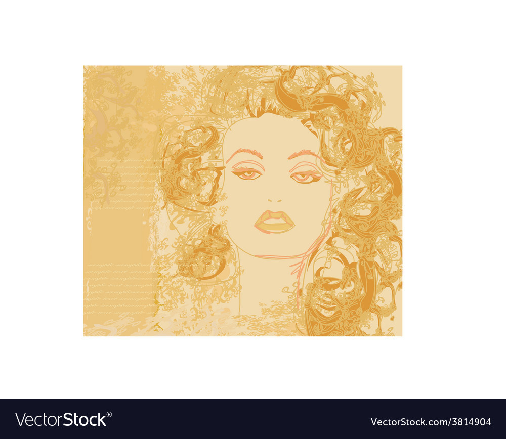 Abstract beautiful woman portrait poster vector | Price: 1 Credit (USD $1)