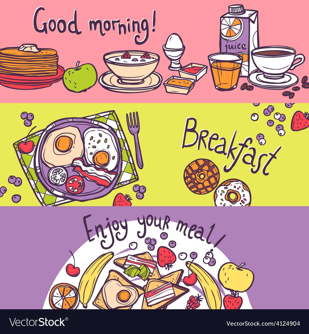 Breakfast banner set vector | Price: 1 Credit (USD $1)