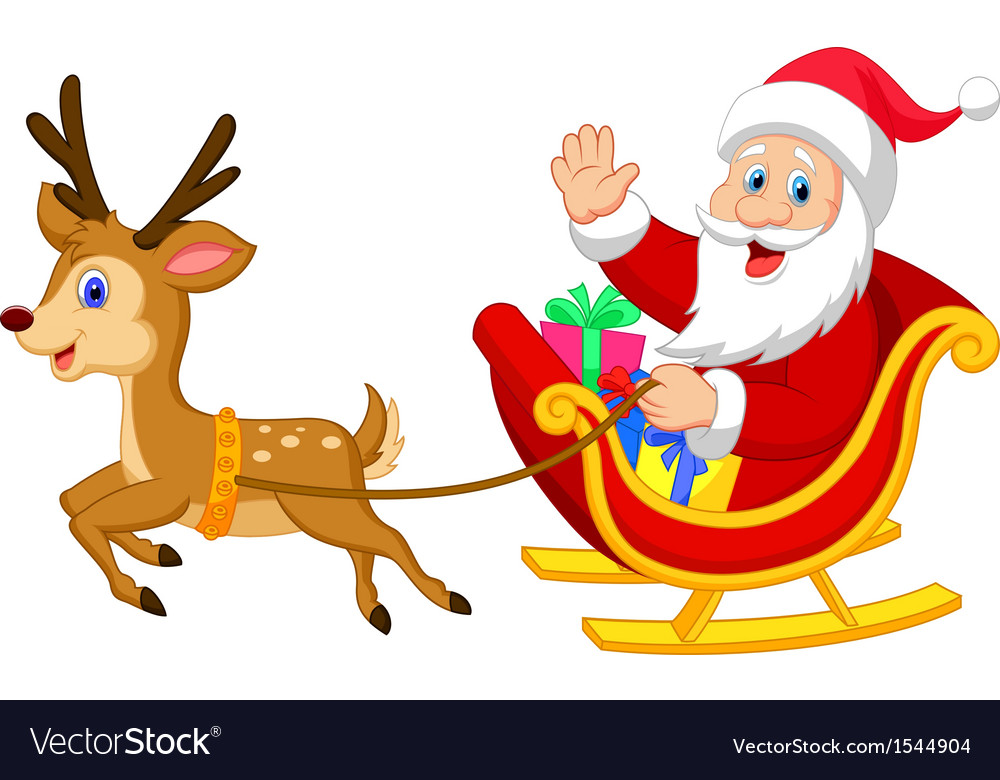 Cartoon santa drives his sleigh vector | Price: 1 Credit (USD $1)