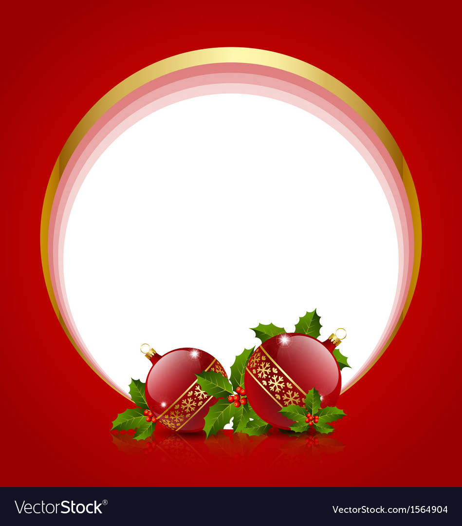 Christmas balls decoration with holly vector | Price: 1 Credit (USD $1)