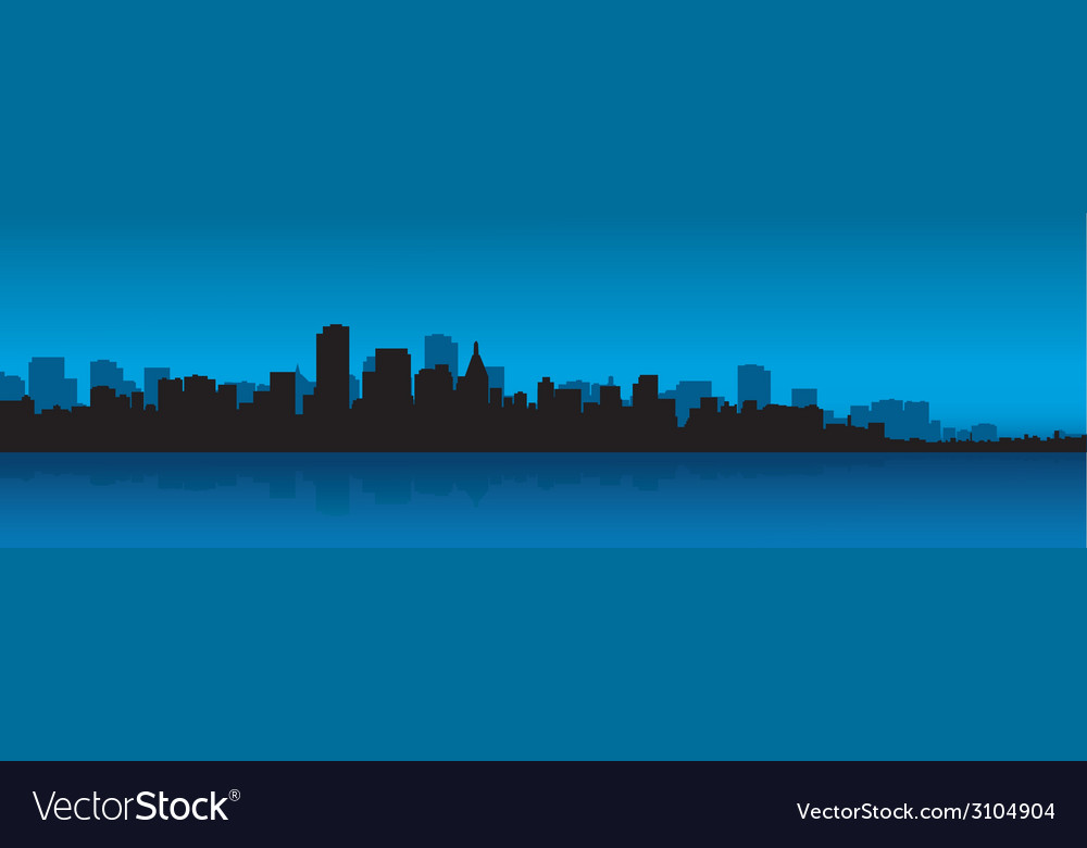 Contour of the big city against the ocean vector | Price: 1 Credit (USD $1)