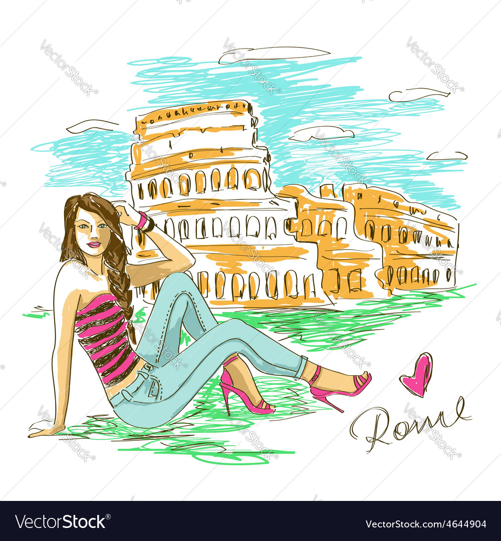 Fashion girl in rome vector | Price: 1 Credit (USD $1)