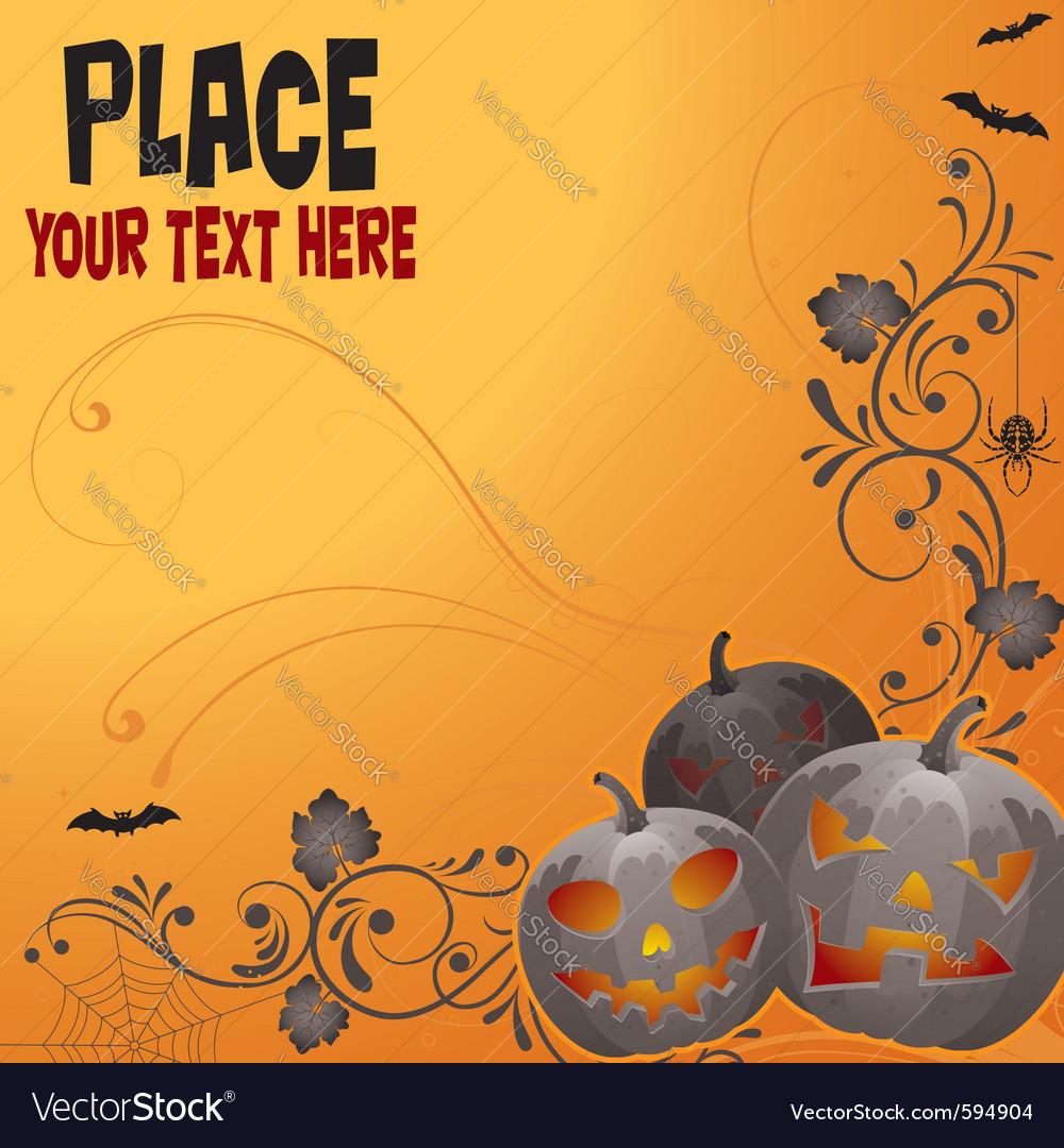Halloween background with bat pumpkin floral vector | Price: 1 Credit (USD $1)