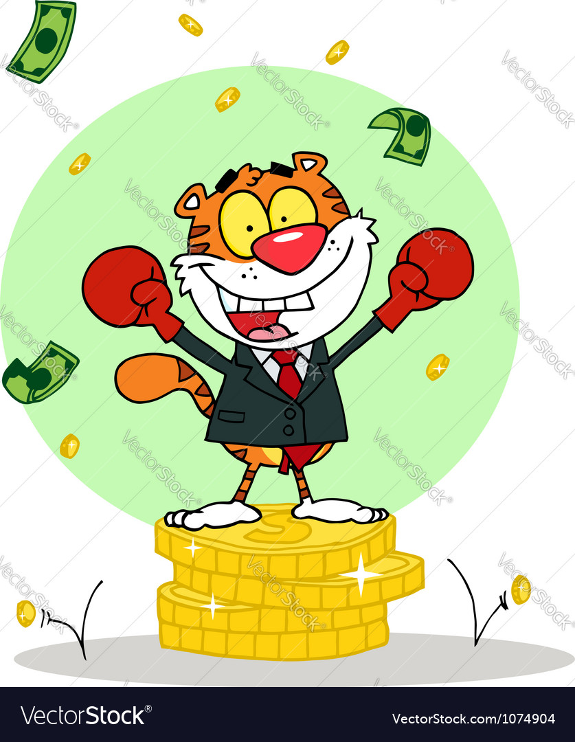 Happy tiger alated with victory vector | Price: 1 Credit (USD $1)