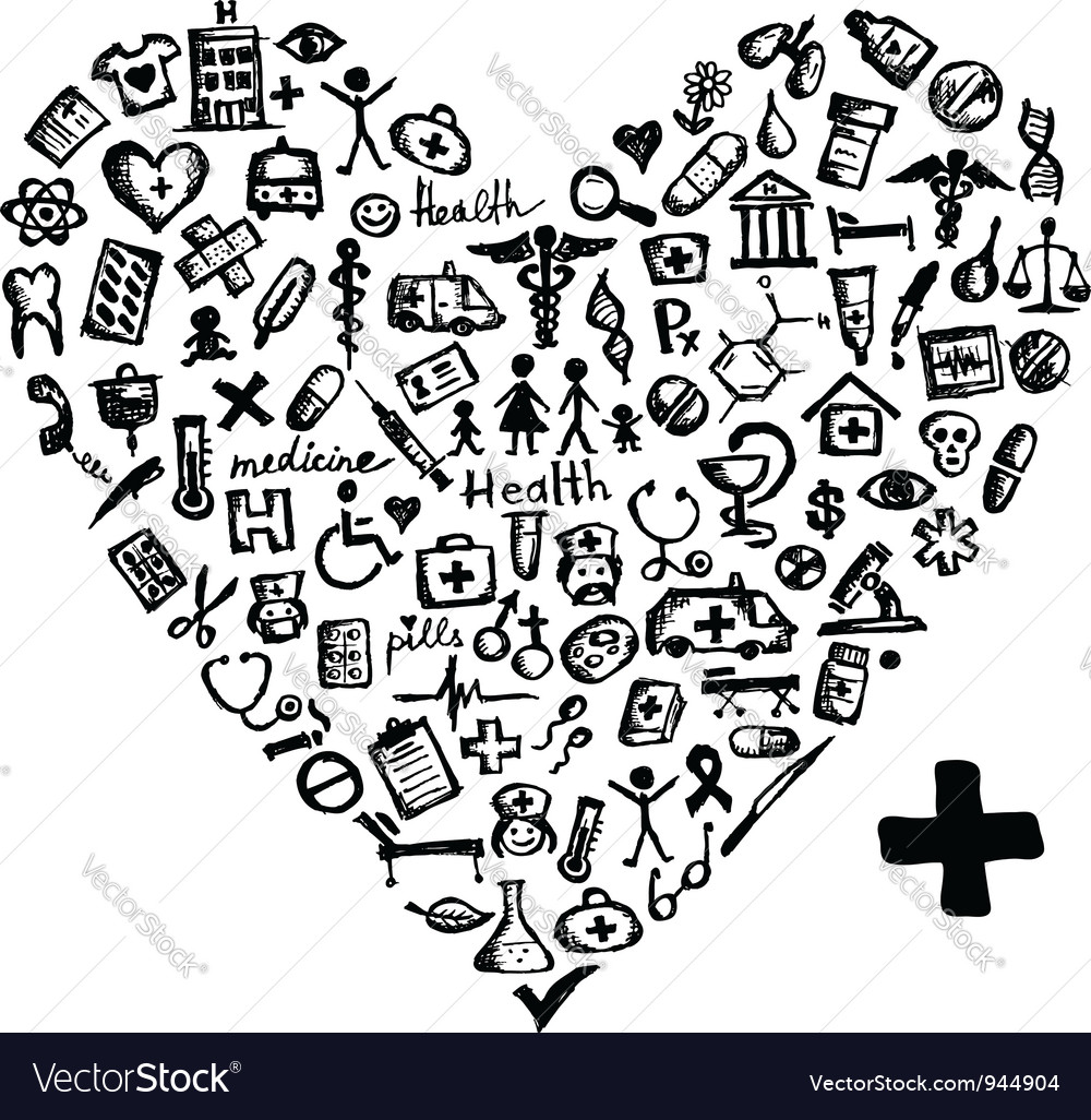 Heart shape with medical icons vector | Price: 1 Credit (USD $1)
