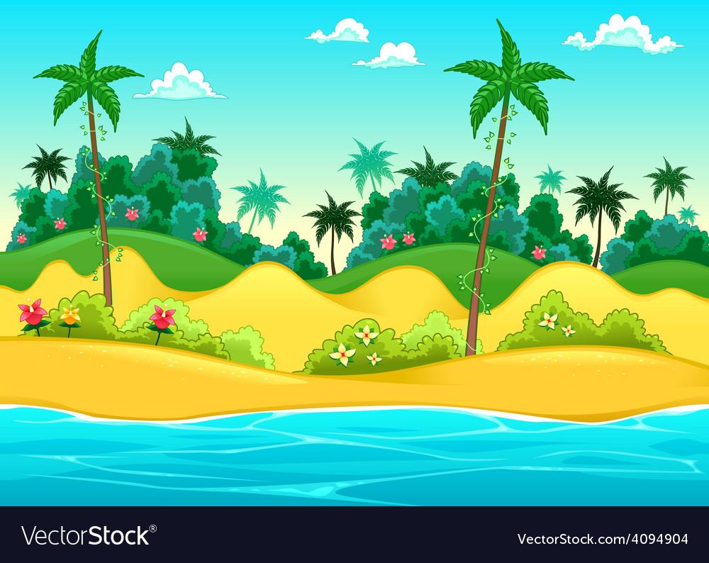 Landscape on the seashore vector | Price: 3 Credit (USD $3)
