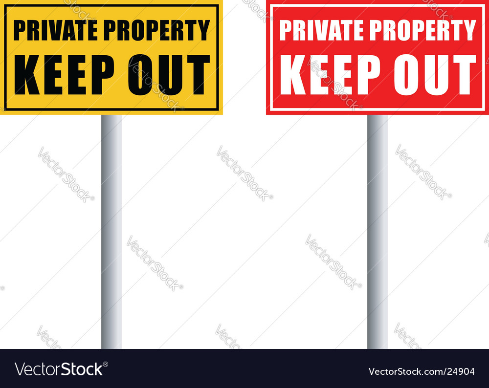 Private property pole vector | Price: 1 Credit (USD $1)