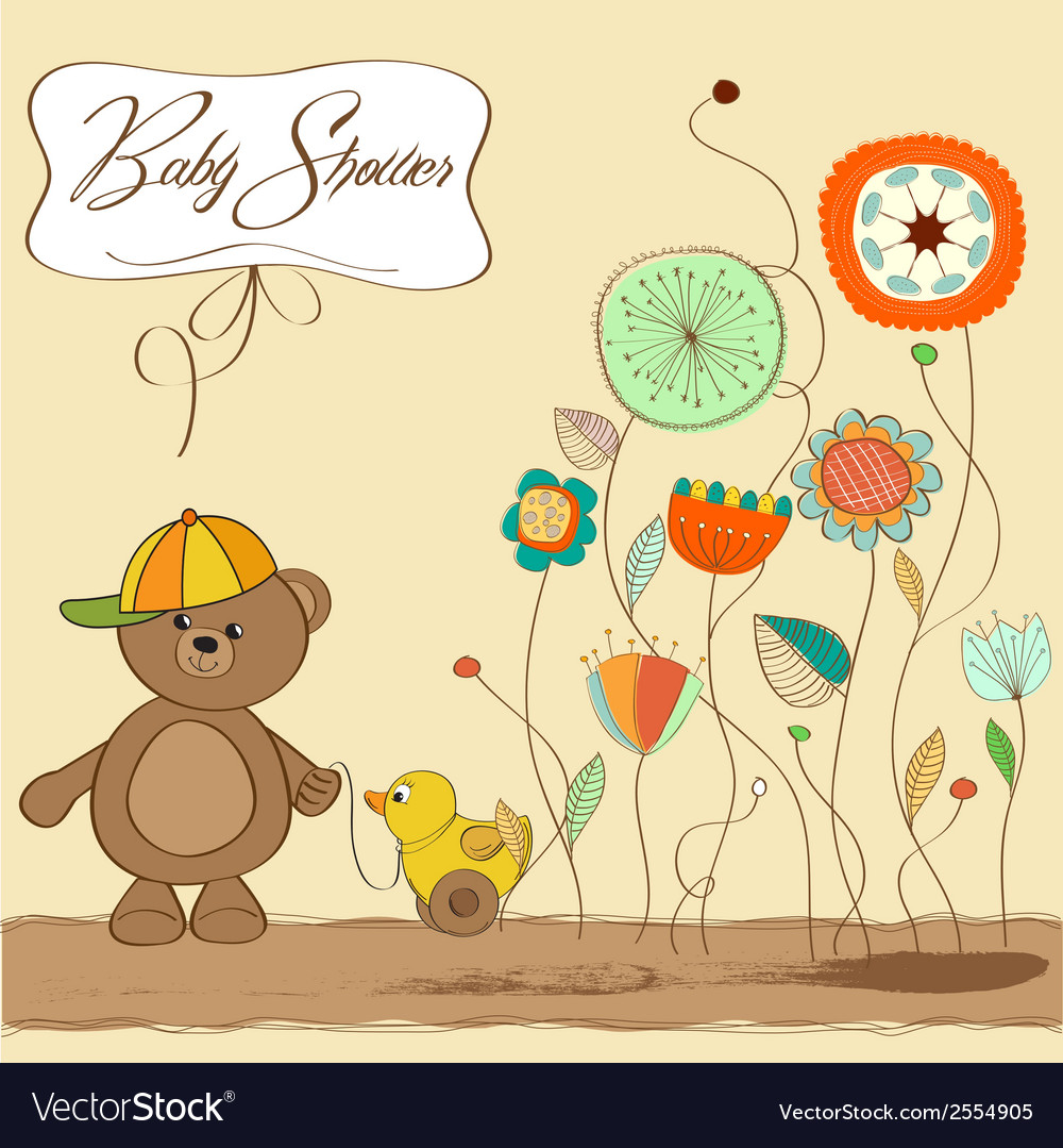Baby shower card with teddy bear toy vector   Price: 1 Credit (USD $1)