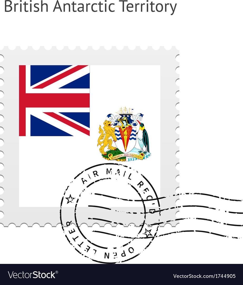 British antarctic territory flag postage stamp vector | Price: 1 Credit (USD $1)