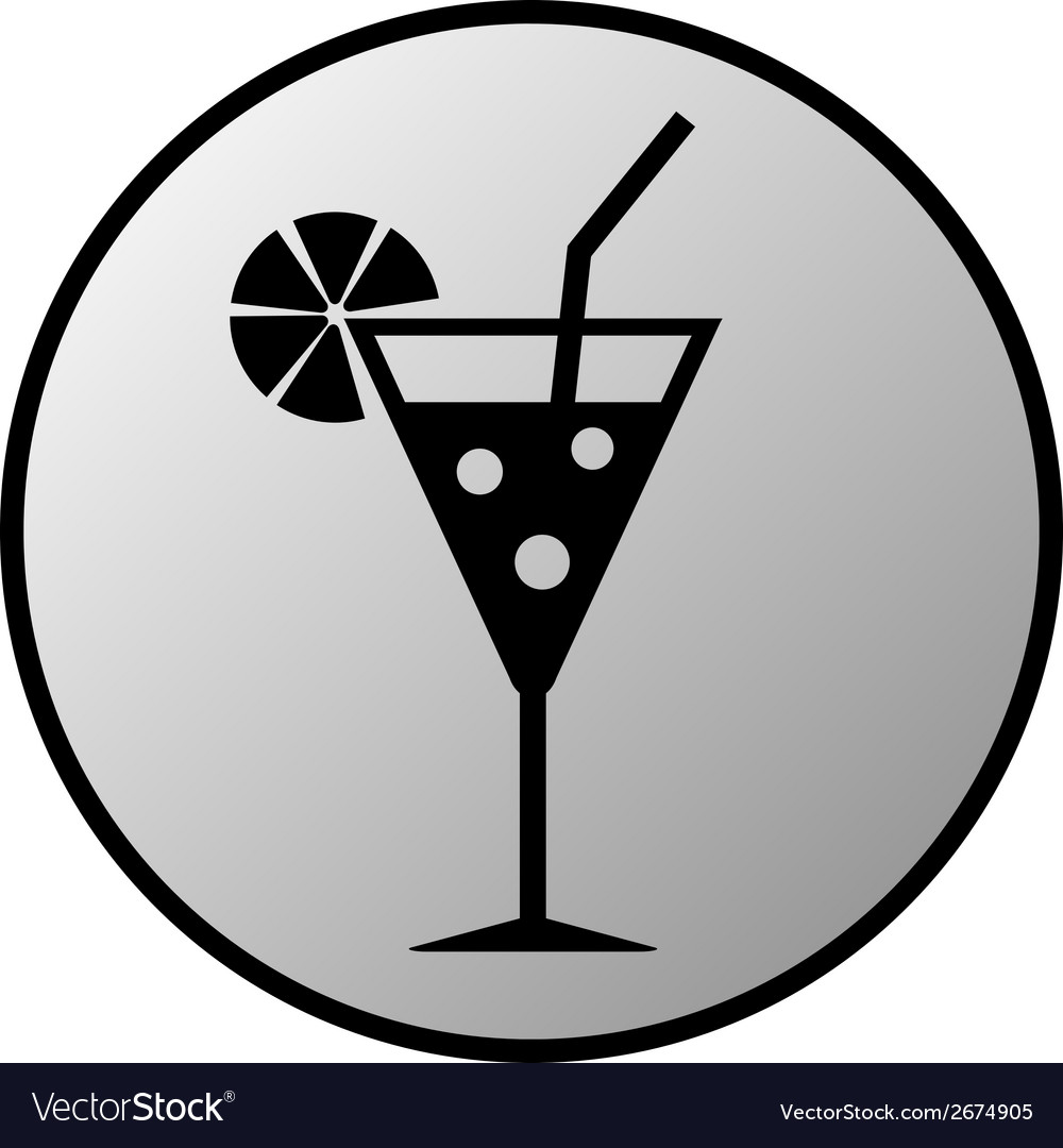 Cocktail glass button vector | Price: 1 Credit (USD $1)