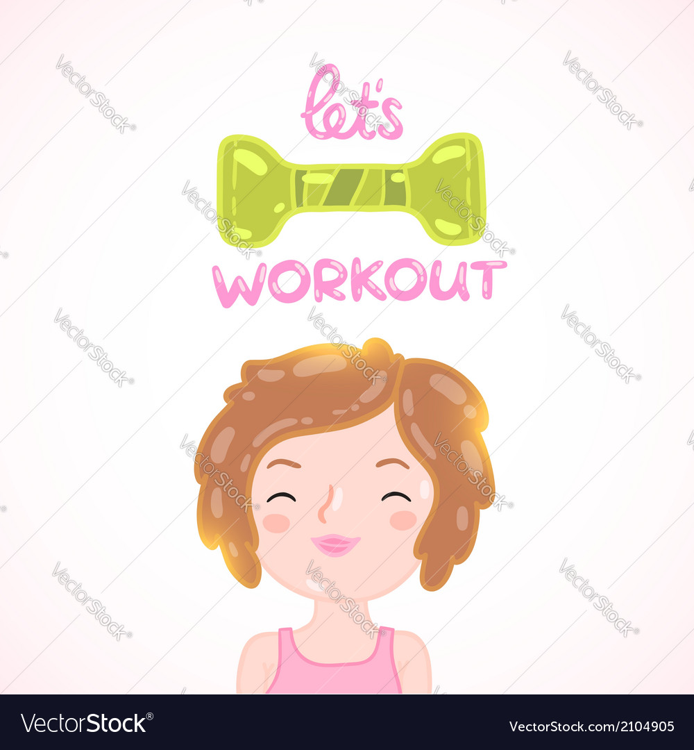 Cute cartoon woman with dumbbell vector | Price: 1 Credit (USD $1)