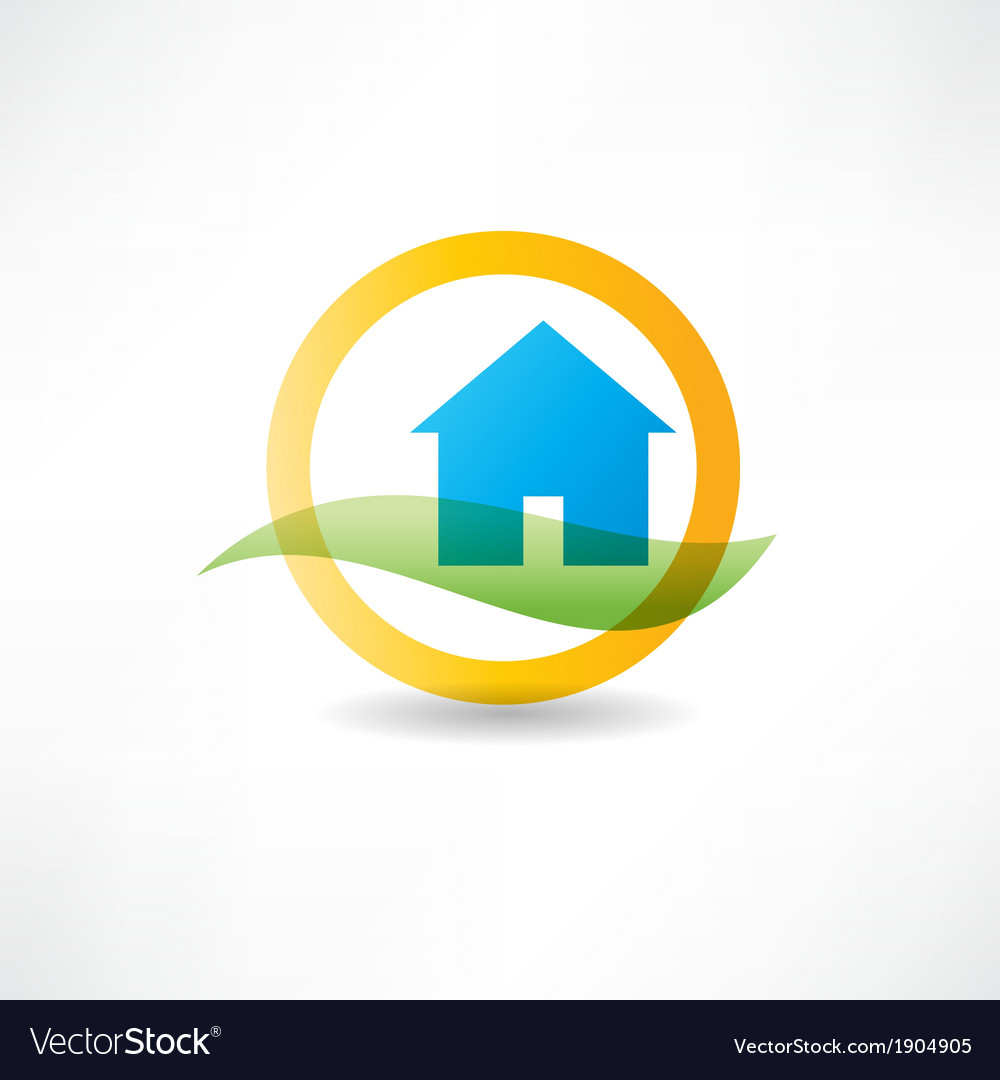 Eco house abstraction icon vector | Price: 1 Credit (USD $1)