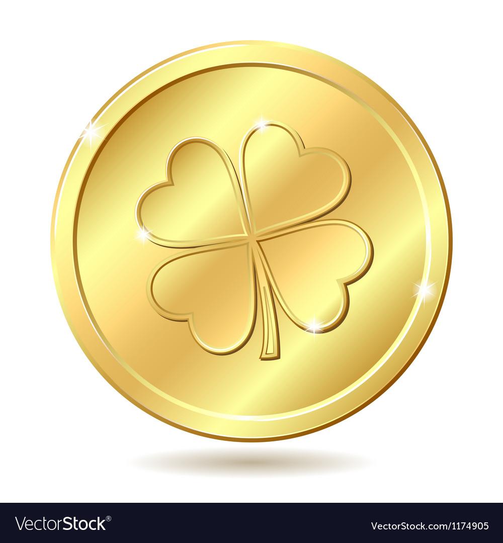 Golden coin with clover vector