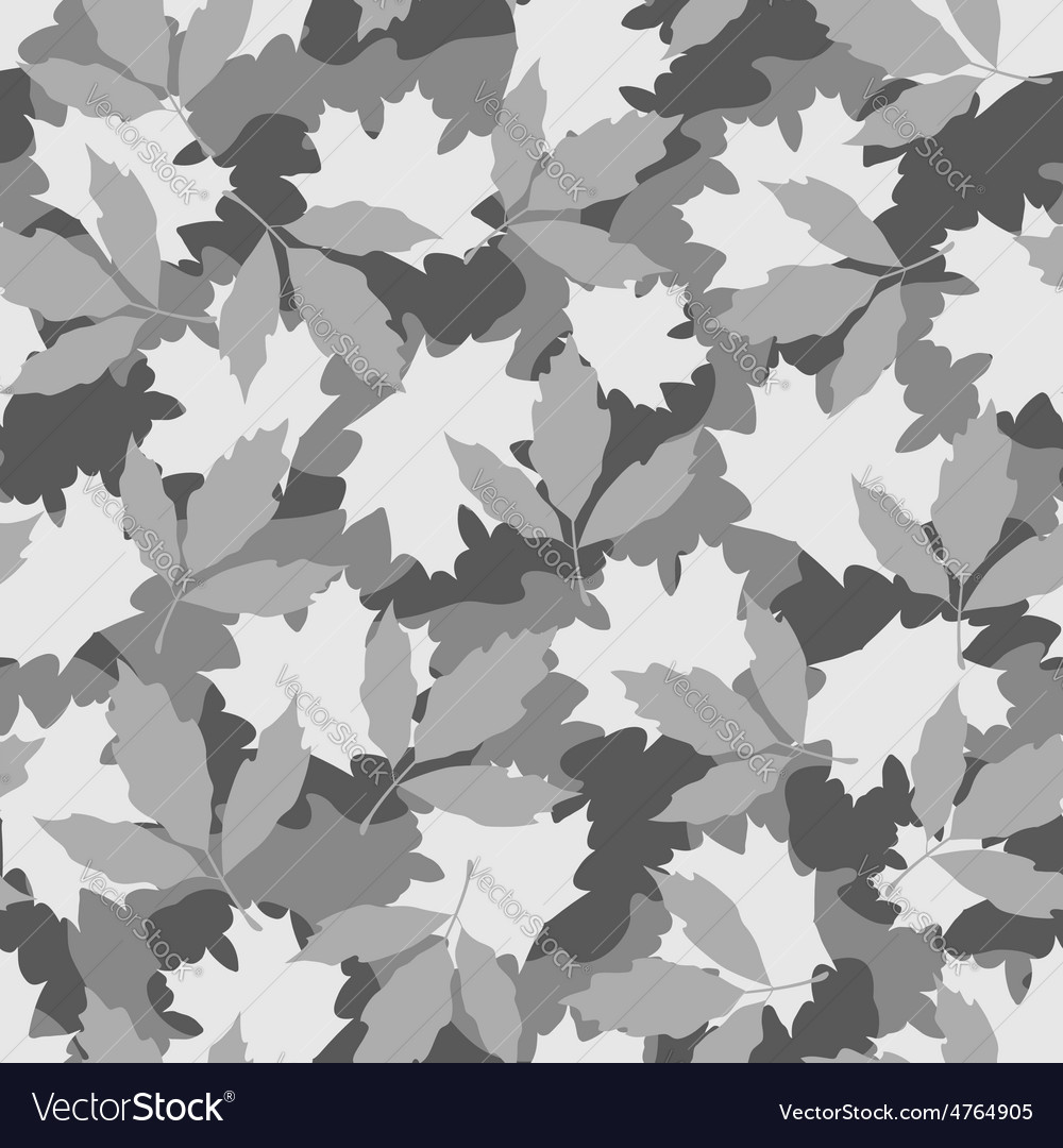Grey foliage camouflage seamless pattern vector | Price: 1 Credit (USD $1)