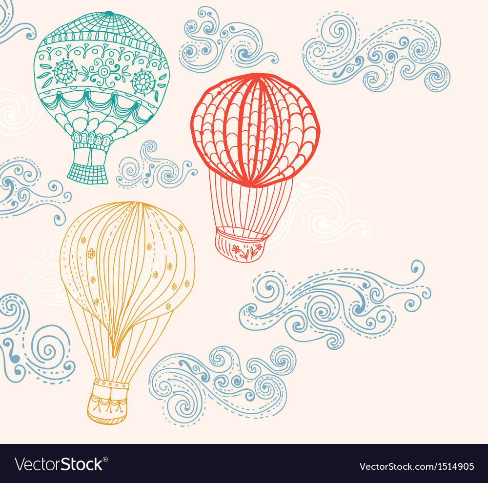 Hot air balloon in sky background vector | Price: 1 Credit (USD $1)