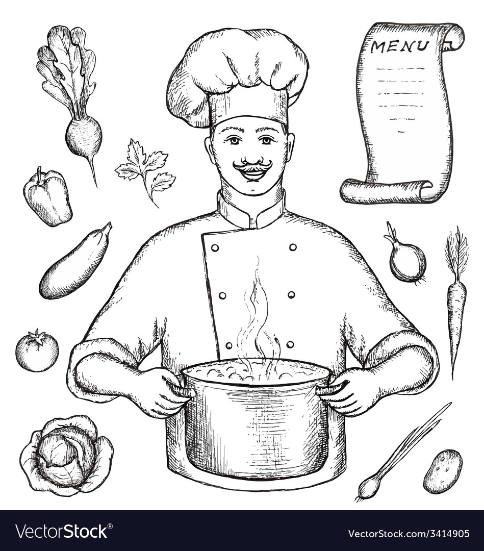 The main chef is holding a pot of vegetable soup vector | Price: 1 Credit (USD $1)