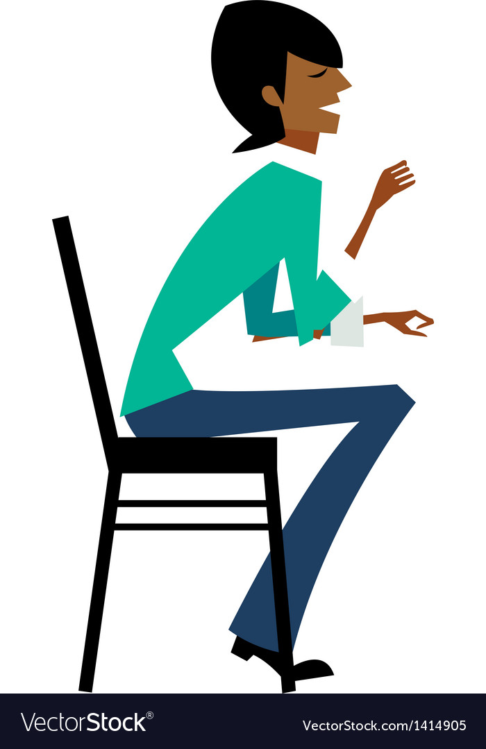 Side view of man sitting on chair vector | Price: 1 Credit (USD $1)