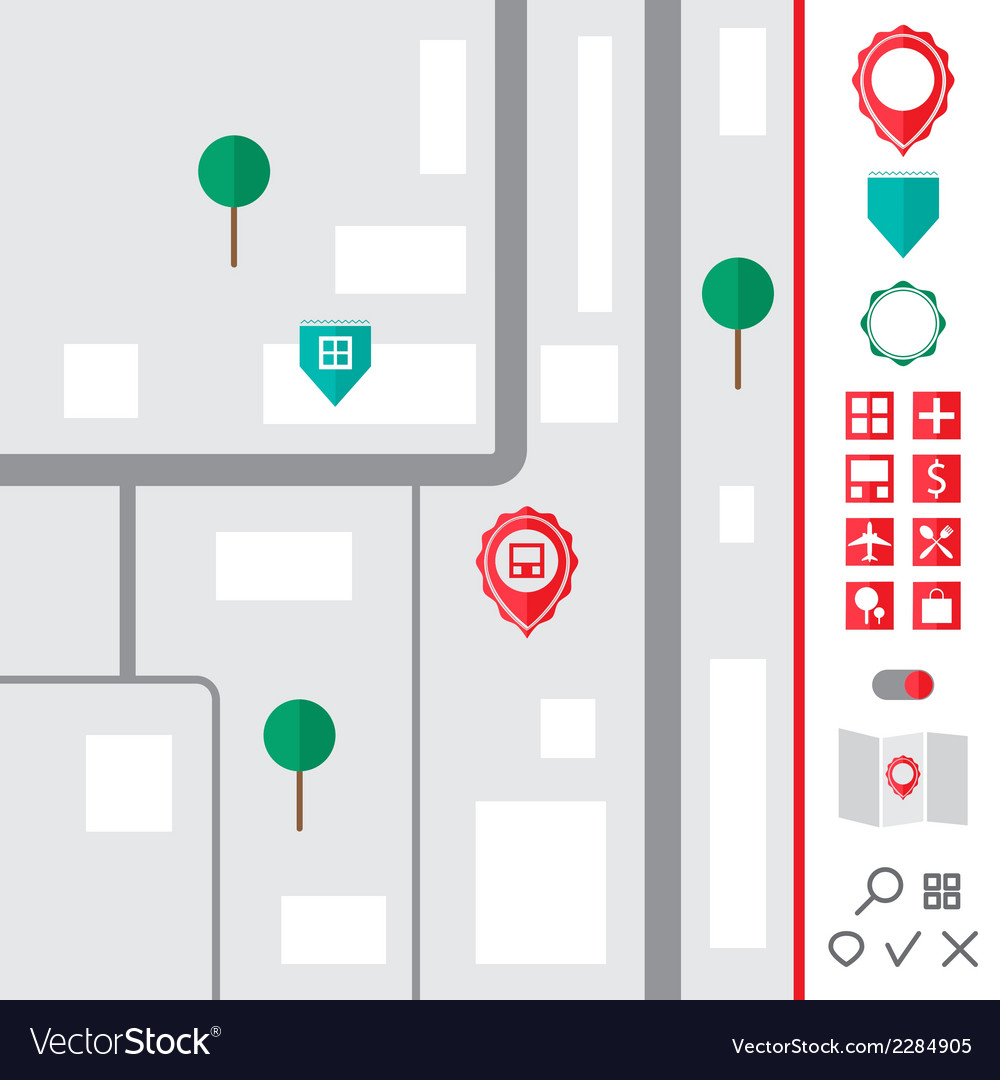 Urban map with pointer icons set vector | Price: 1 Credit (USD $1)