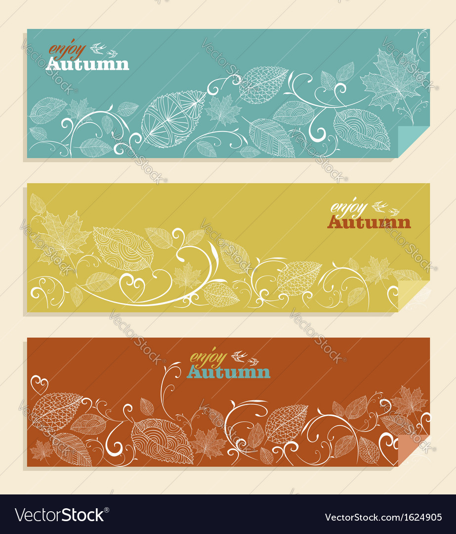 Vintage enjoy autumn text and leaves background vector | Price: 1 Credit (USD $1)