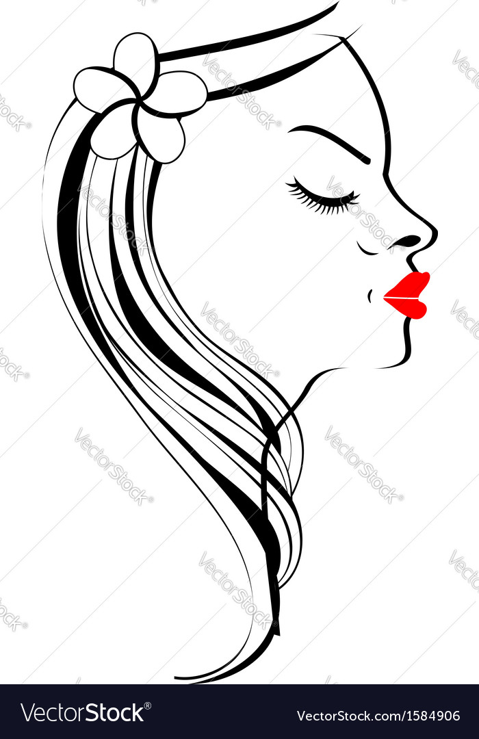 Beautiful lady with a lovely hairstyle vector | Price: 1 Credit (USD $1)