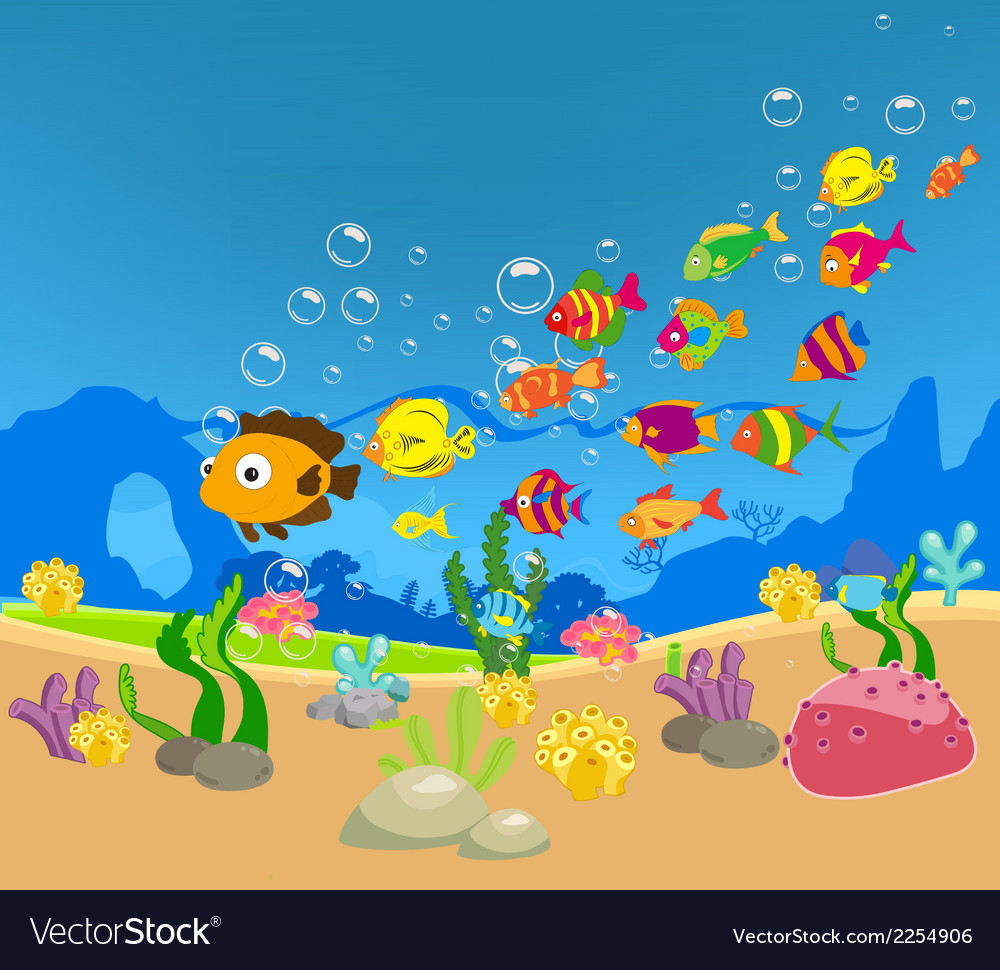 Big family of fish in the sea vector | Price: 1 Credit (USD $1)