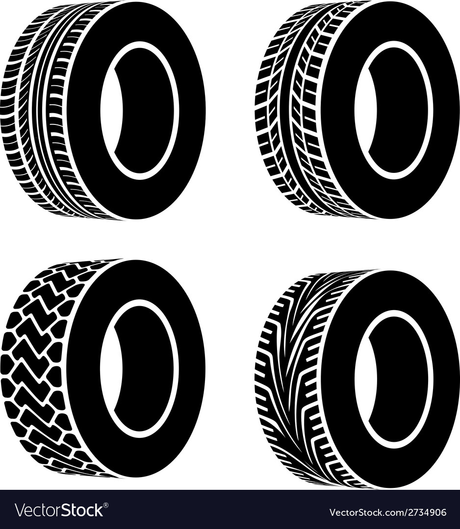 Black tyre symbols vector | Price: 1 Credit (USD $1)