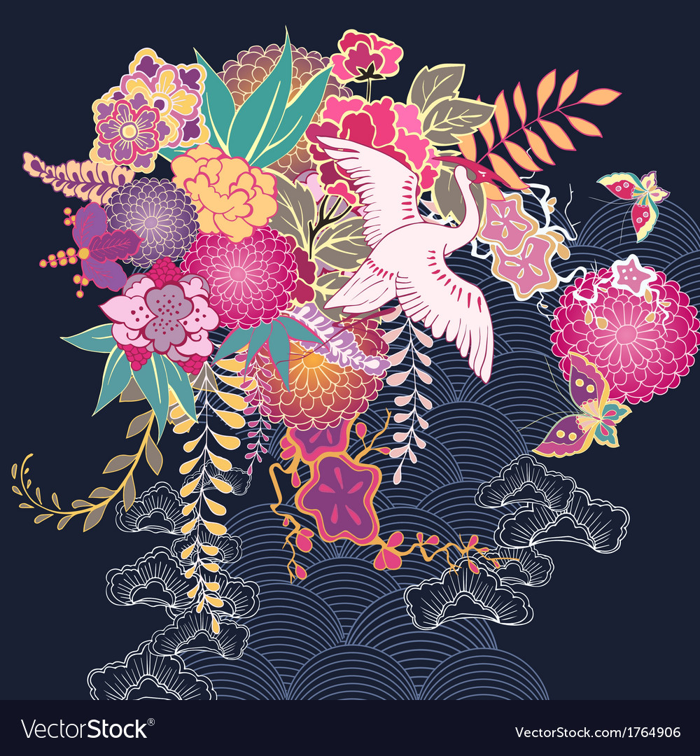 Decorative kimono floral motif vector | Price: 1 Credit (USD $1)
